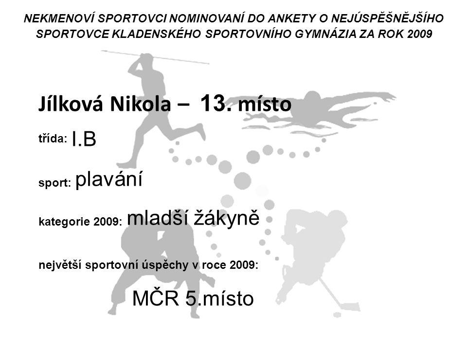 Jílková Nikola – 13. místo MČR 5.místo