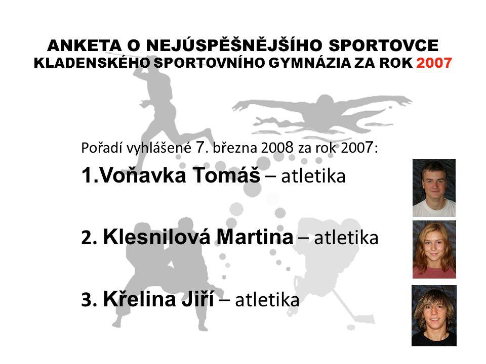 Voňavka Tomáš – atletika 2. Klesnilová Martina – atletika