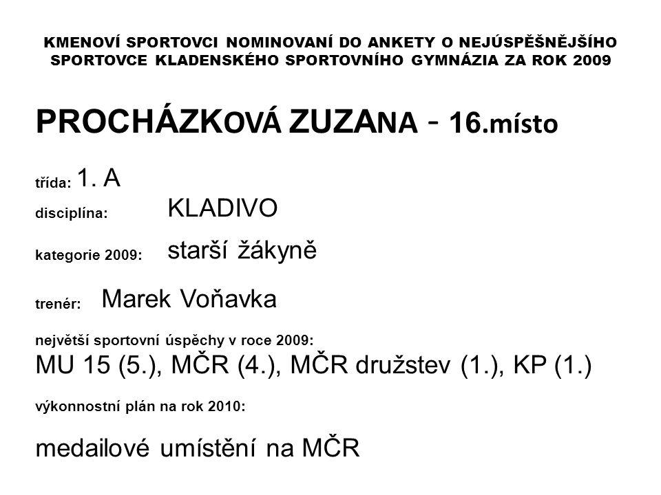 PROCHÁZKOVÁ ZUZANA - 16.místo