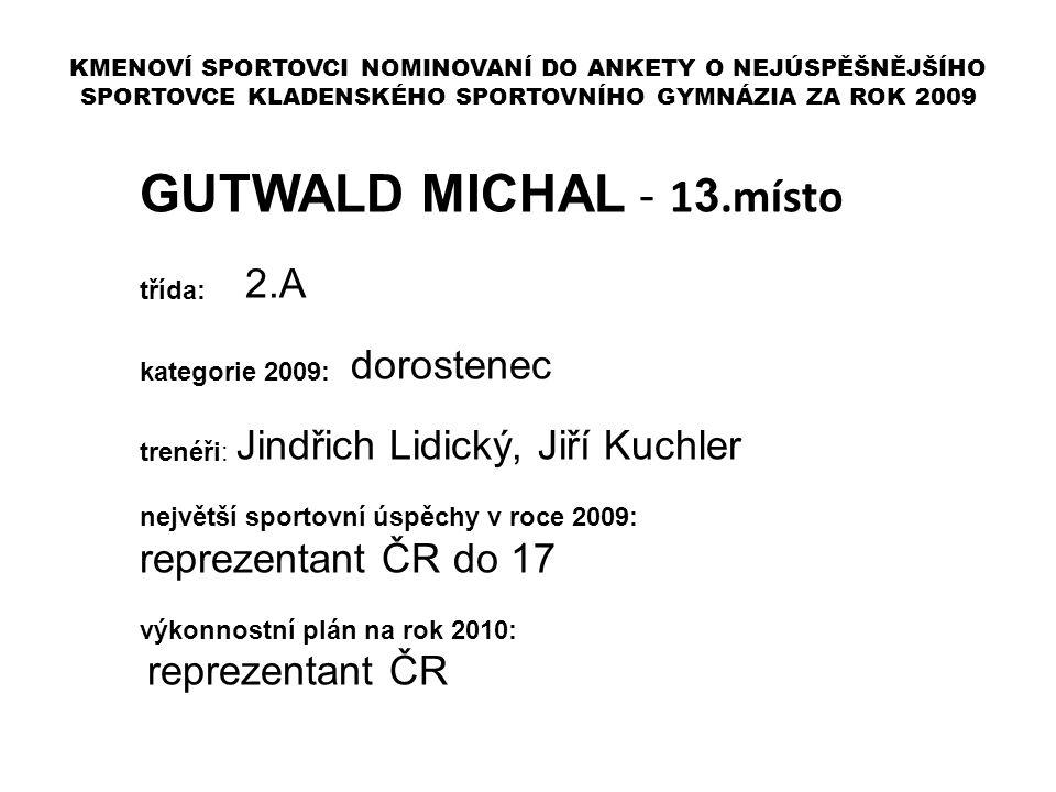 GUTWALD MICHAL - 13.místo reprezentant ČR do 17 třída: 2.A