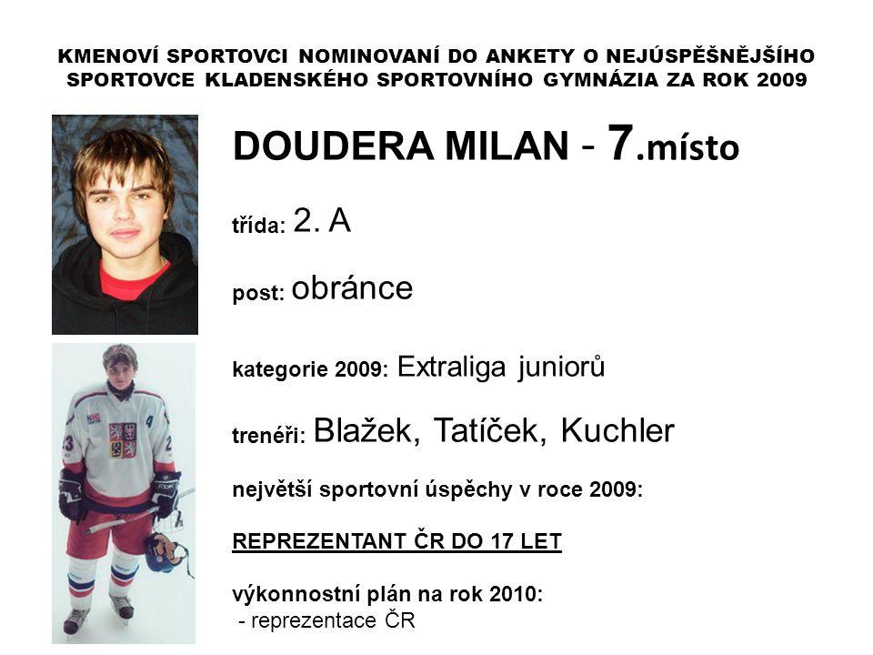DOUDERA MILAN - 7.místo třída: 2. A post: obránce