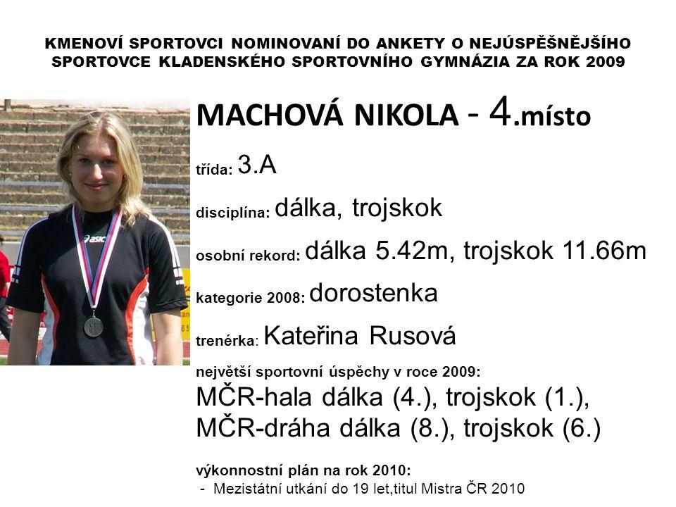MACHOVÁ NIKOLA - 4.místo MČR-hala dálka (4.), trojskok (1.),