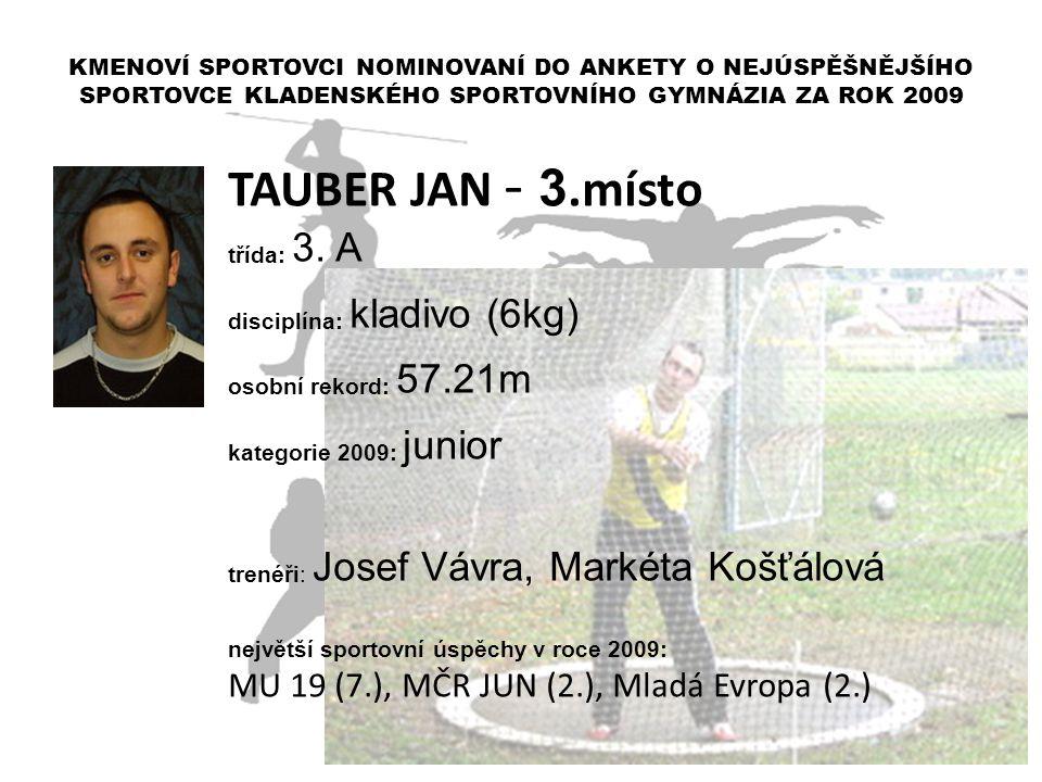 TAUBER JAN - 3.místo MU 19 (7.), MČR JUN (2.), Mladá Evropa (2.)