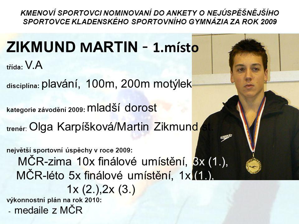 ZIKMUND MARTIN - 1.místo MČR-zima 10x finálové umístění, 3x (1.),