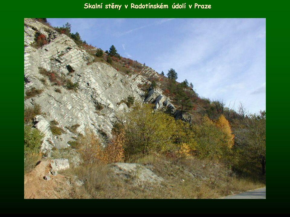 Skalní stěny v Radotínském údolí v Praze