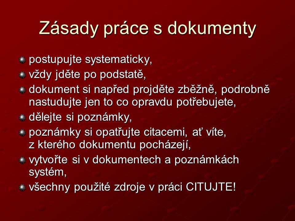 Zásady práce s dokumenty