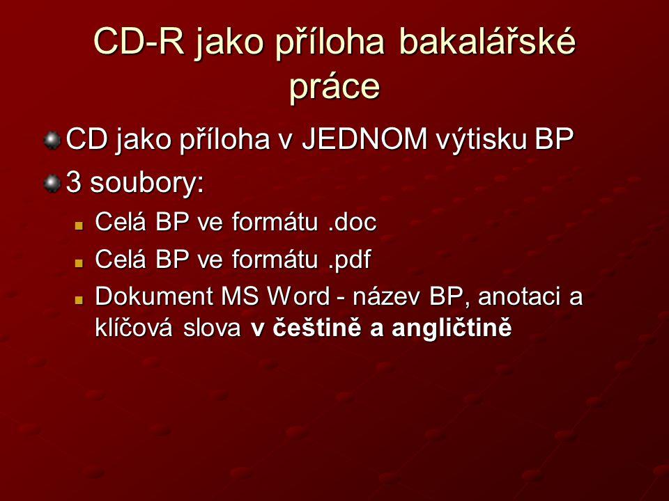 CD-R jako příloha bakalářské práce