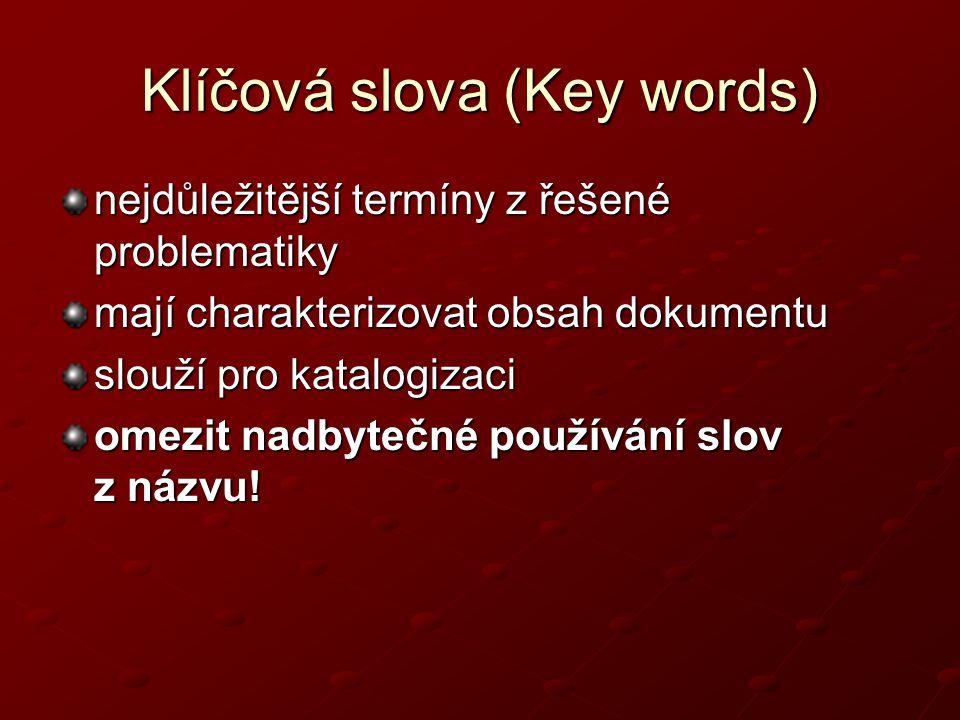 Klíčová slova (Key words)