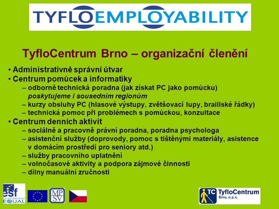 TyfloCentrum Brno – organizační členění