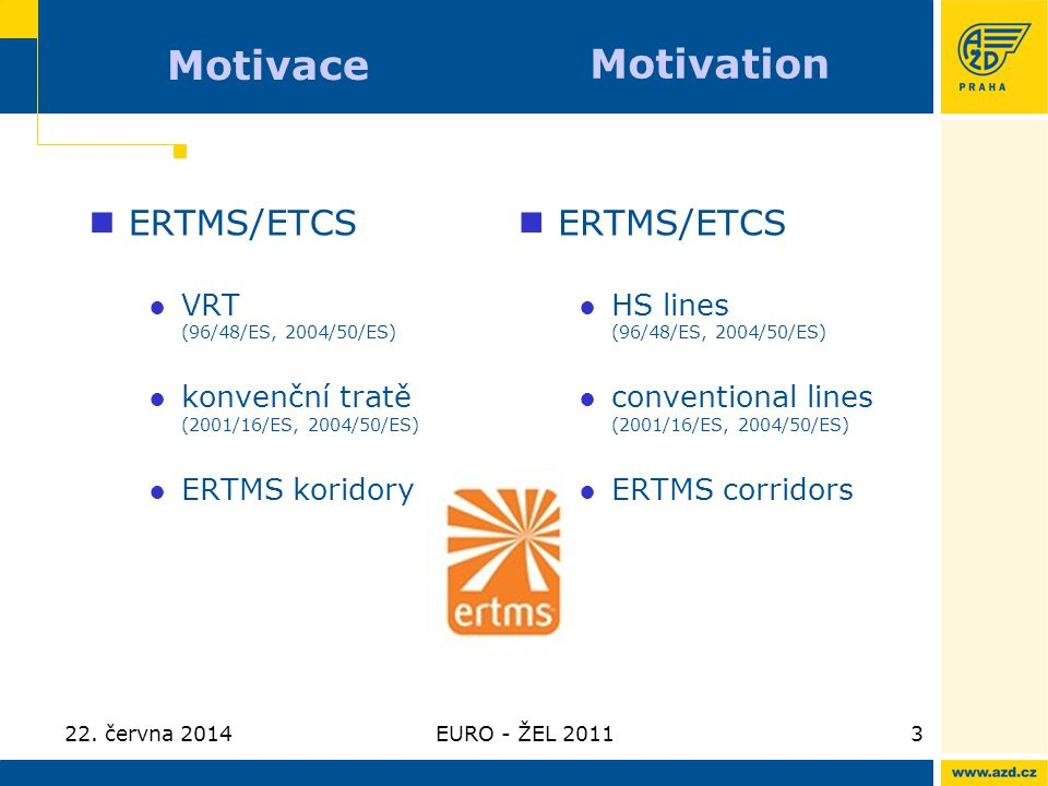 Motivace Motivation ERTMS/ETCS ERTMS/ETCS VRT (96/48/ES, 2004/50/ES)