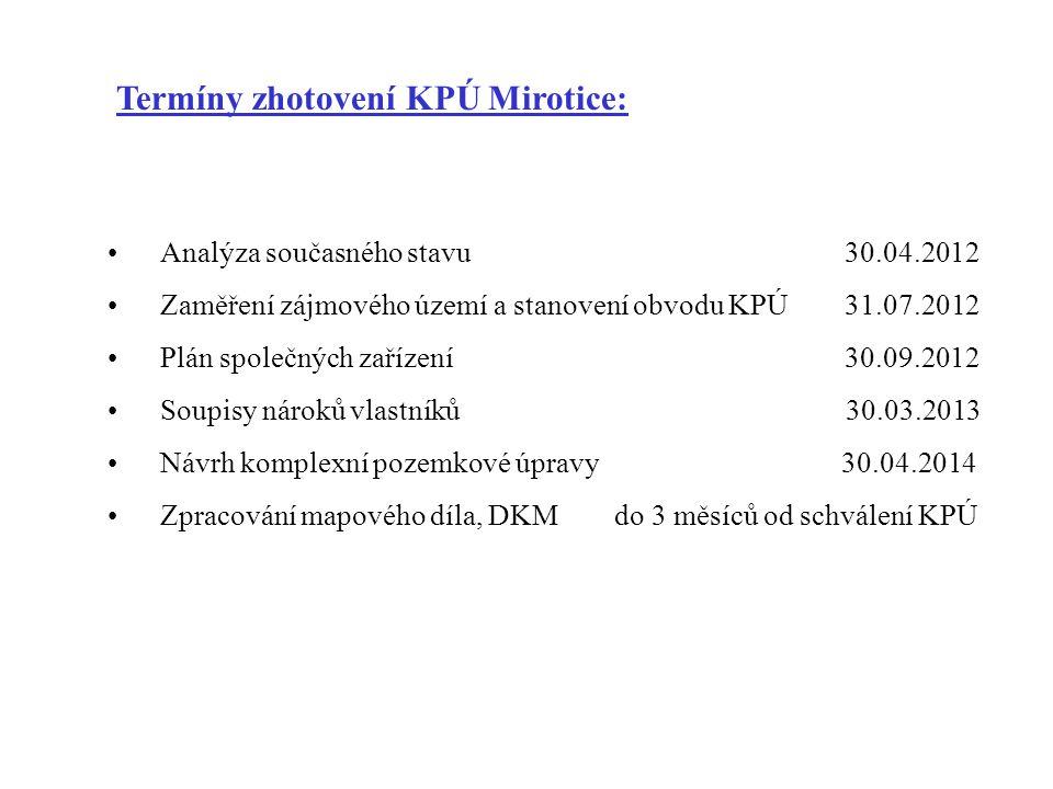 Termíny zhotovení KPÚ Mirotice: