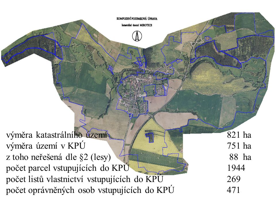 výměra katastrálního území 821 ha