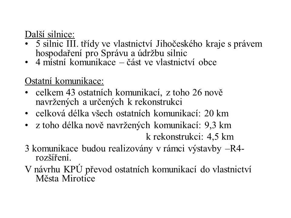 Další silnice: 5 silnic III. třídy ve vlastnictví Jihočeského kraje s právem hospodaření pro Správu a údržbu silnic.