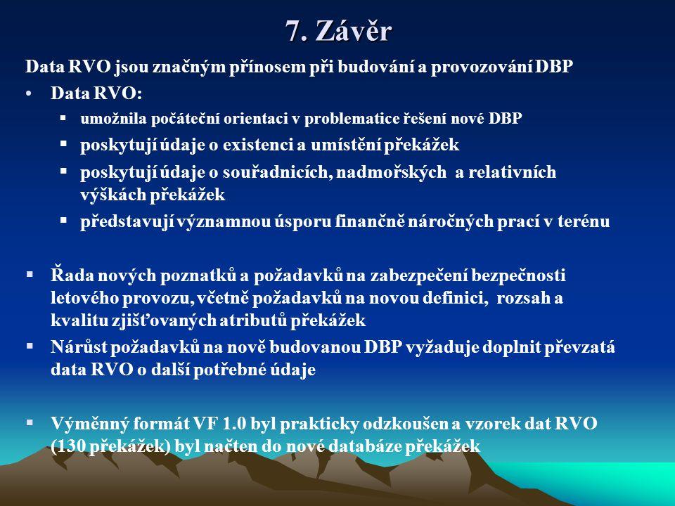 7. Závěr Data RVO jsou značným přínosem při budování a provozování DBP