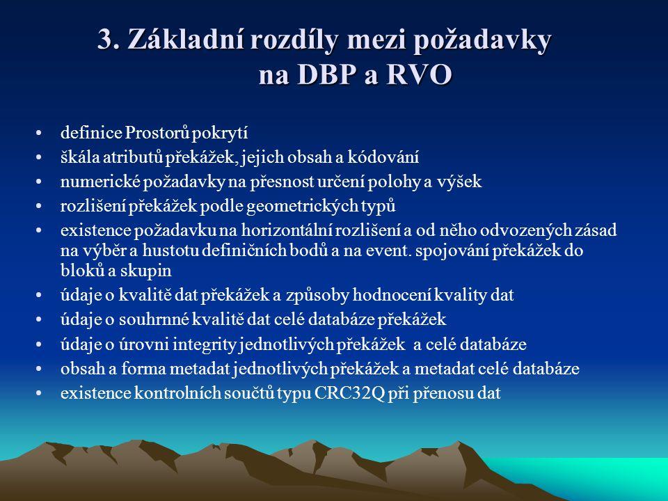 3. Základní rozdíly mezi požadavky na DBP a RVO