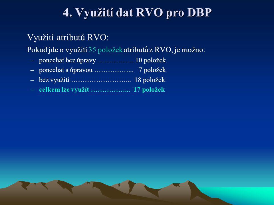 4. Využití dat RVO pro DBP Využití atributů RVO: