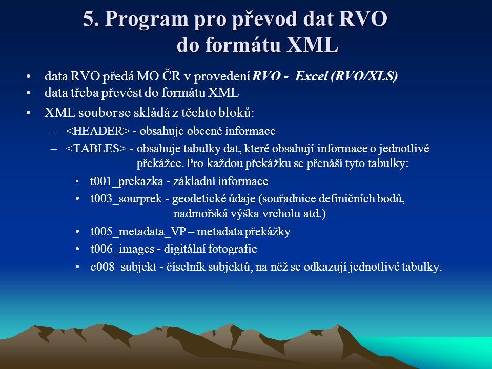 5. Program pro převod dat RVO do formátu XML