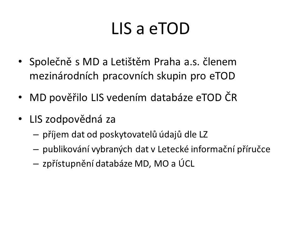 LIS a eTOD Společně s MD a Letištěm Praha a.s. členem mezinárodních pracovních skupin pro eTOD. MD pověřilo LIS vedením databáze eTOD ČR.