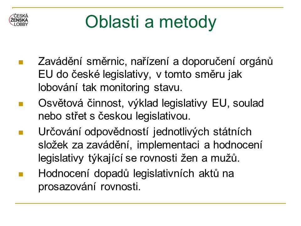 Oblasti a metody Zavádění směrnic, nařízení a doporučení orgánů EU do české legislativy, v tomto směru jak lobování tak monitoring stavu.