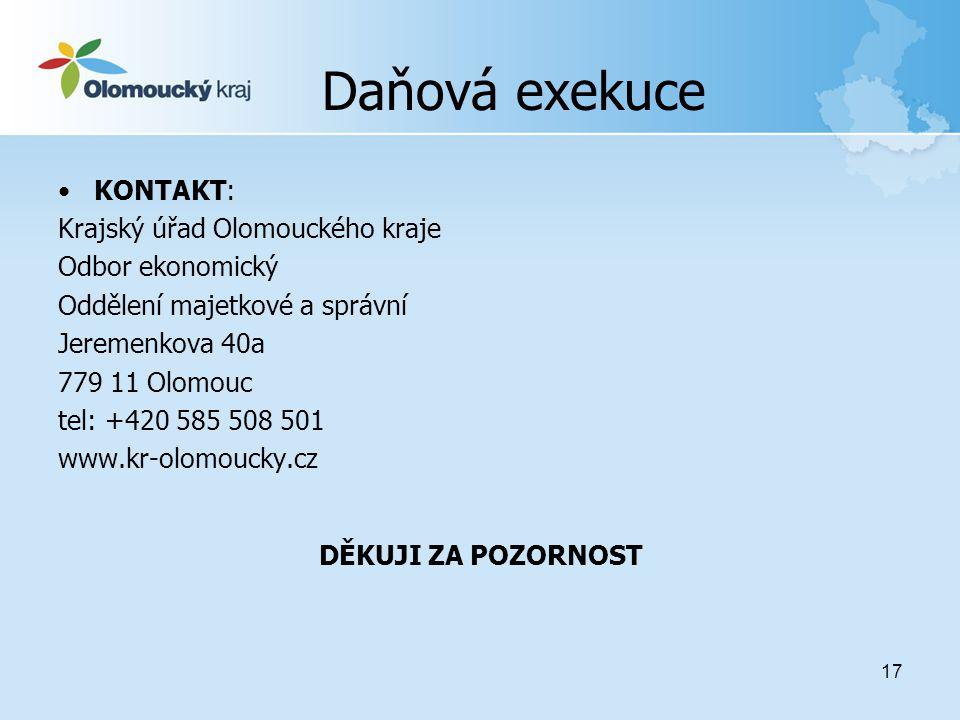 Daňová exekuce KONTAKT: Krajský úřad Olomouckého kraje