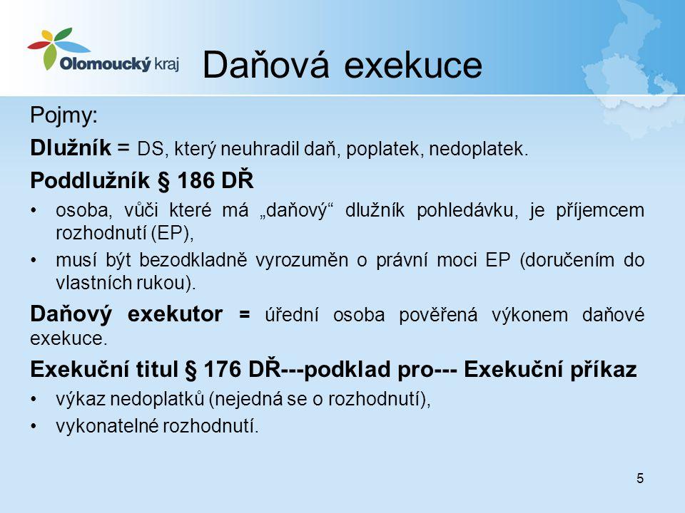 Daňová exekuce Pojmy: Dlužník = DS, který neuhradil daň, poplatek, nedoplatek. Poddlužník § 186 DŘ.