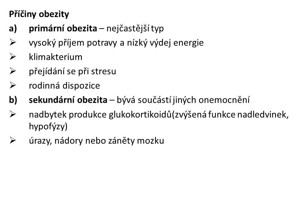 Příčiny obezity primární obezita – nejčastější typ. vysoký příjem potravy a nízký výdej energie. klimakterium.