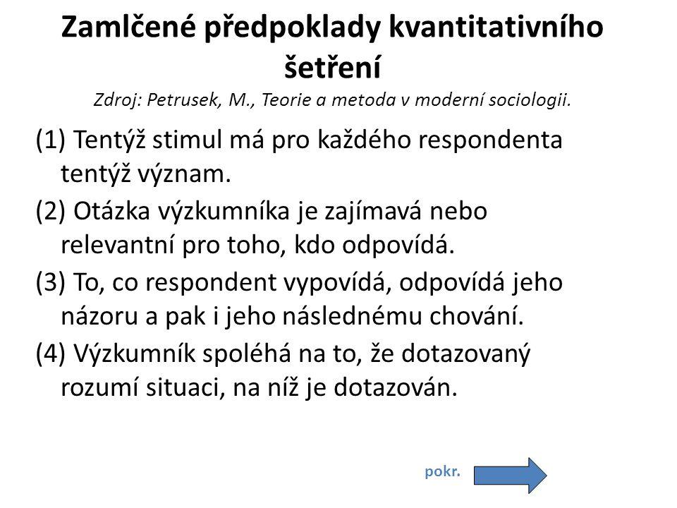 Zamlčené předpoklady kvantitativního šetření Zdroj: Petrusek, M