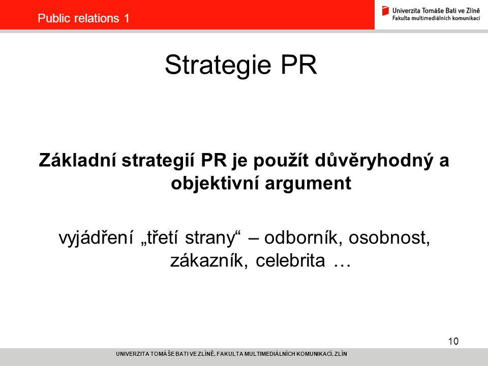 Základní strategií PR je použít důvěryhodný a objektivní argument