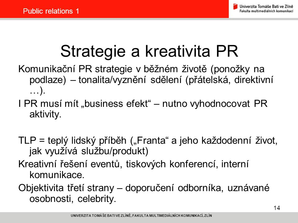 Strategie a kreativita PR
