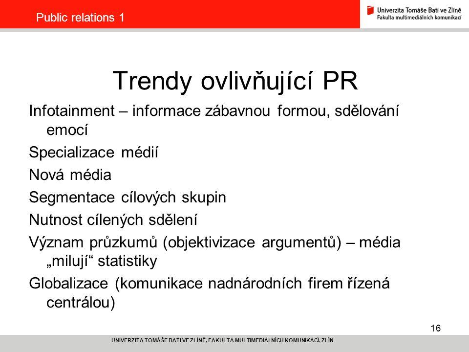 Public relations 1 Trendy ovlivňující PR. Infotainment – informace zábavnou formou, sdělování emocí.
