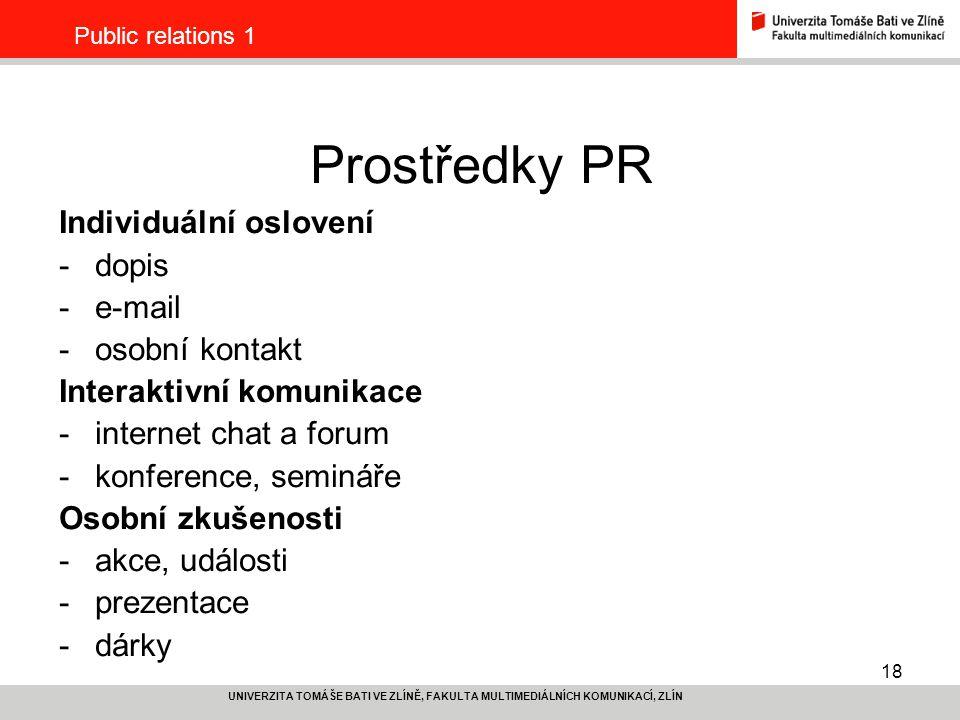 Prostředky PR Individuální oslovení dopis e-mail osobní kontakt