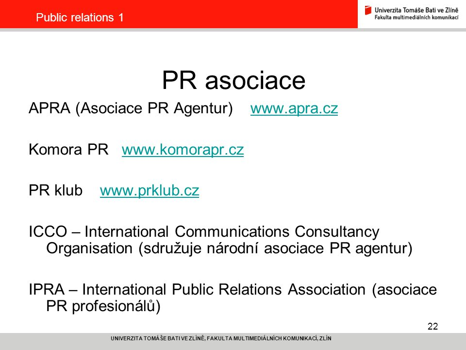 PR asociace APRA (Asociace PR Agentur) www.apra.cz