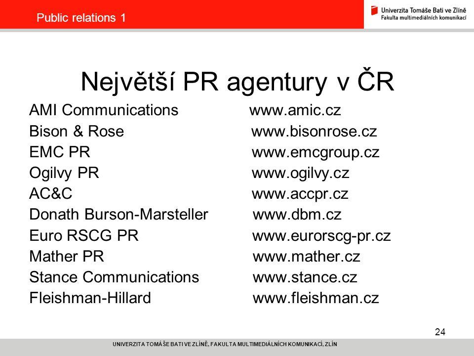 Největší PR agentury v ČR