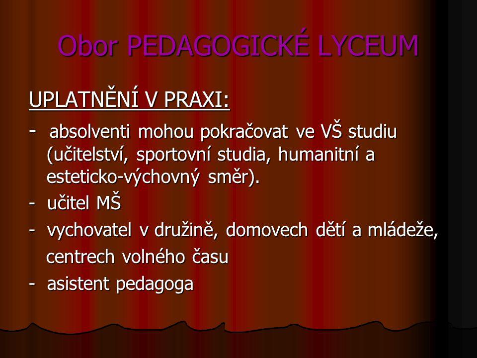 Obor PEDAGOGICKÉ LYCEUM