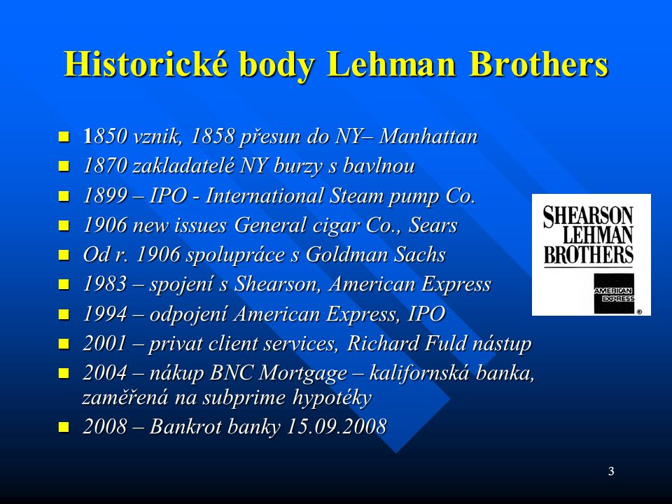 Historické body Lehman Brothers