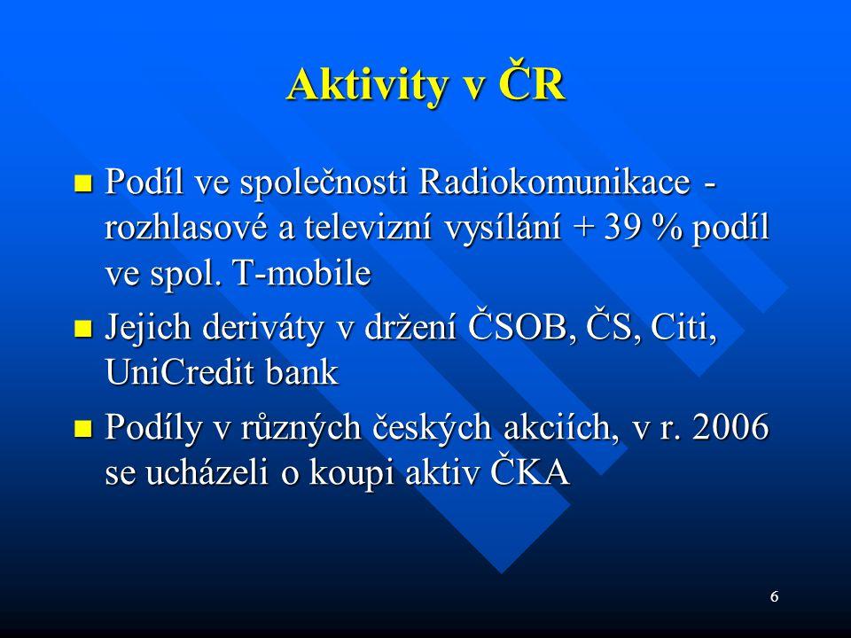 Aktivity v ČR Podíl ve společnosti Radiokomunikace - rozhlasové a televizní vysílání + 39 % podíl ve spol. T-mobile.