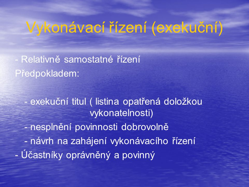 Vykonávací řízení (exekuční)