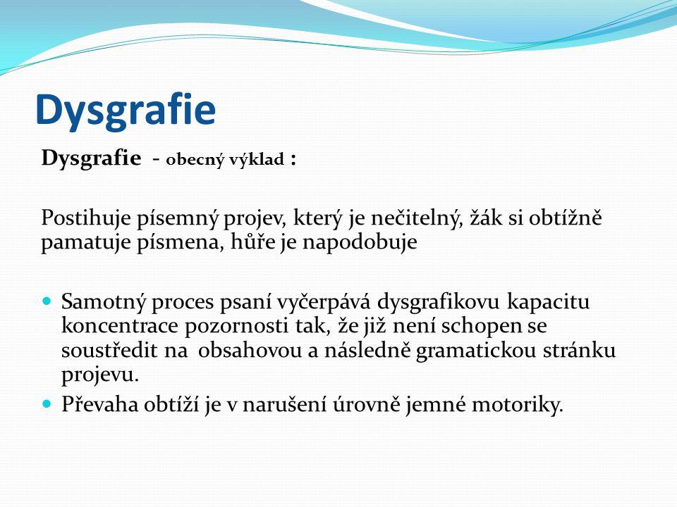 Dysgrafie Dysgrafie - obecný výklad :