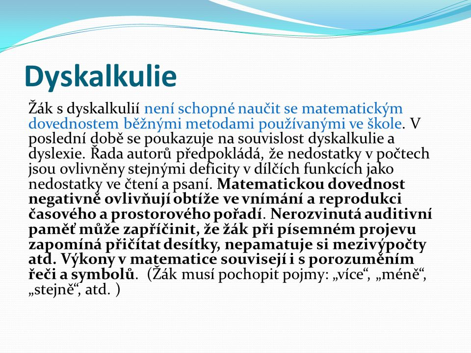 Dyskalkulie