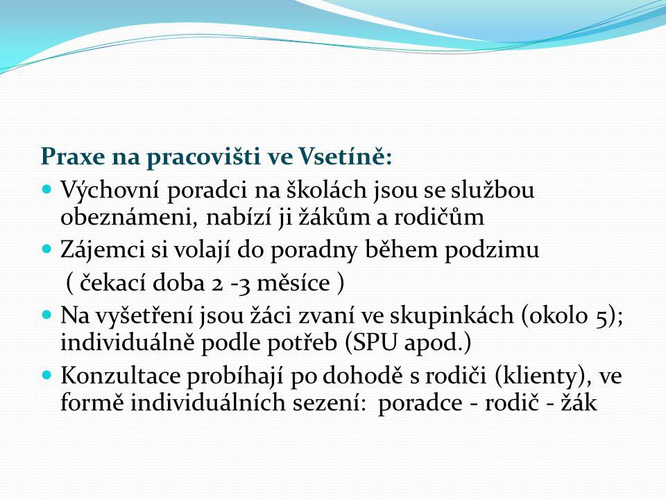 Praxe na pracovišti ve Vsetíně: