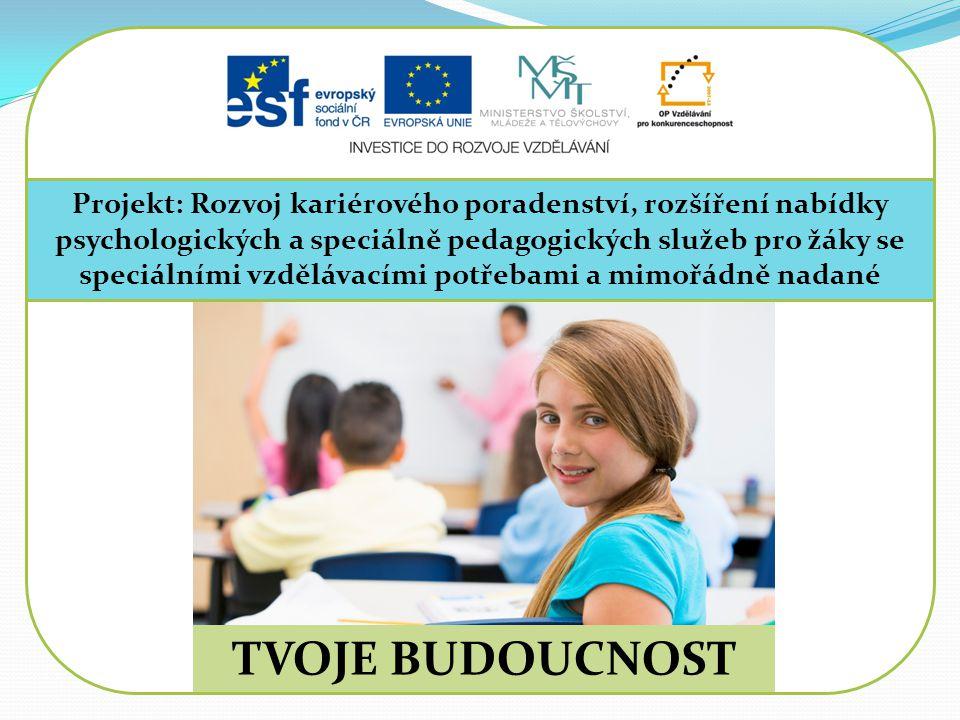 Projekt: Rozvoj kariérového poradenství, rozšíření nabídky psychologických a speciálně pedagogických služeb pro žáky se speciálními vzdělávacími potřebami a mimořádně nadané