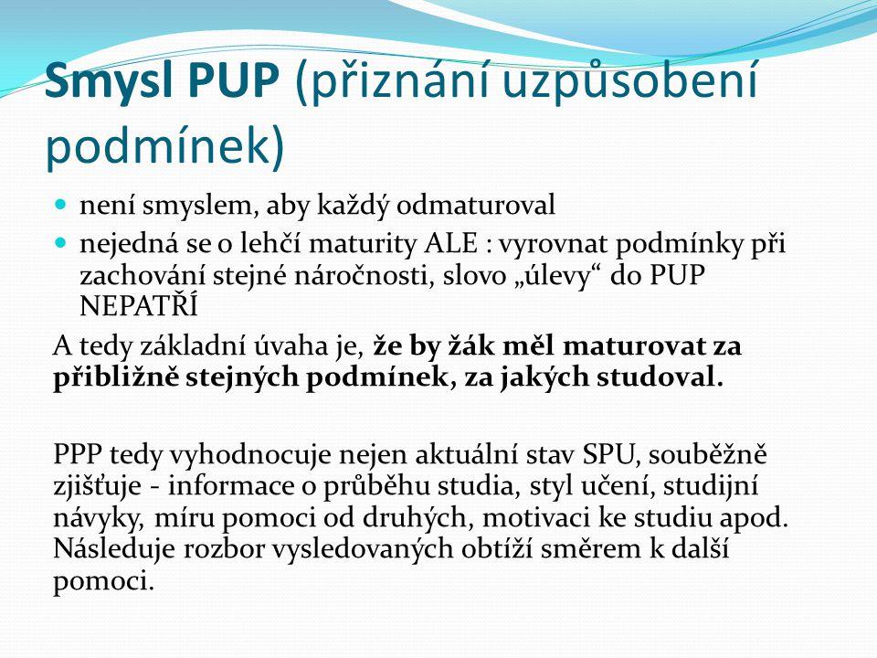 Smysl PUP (přiznání uzpůsobení podmínek)
