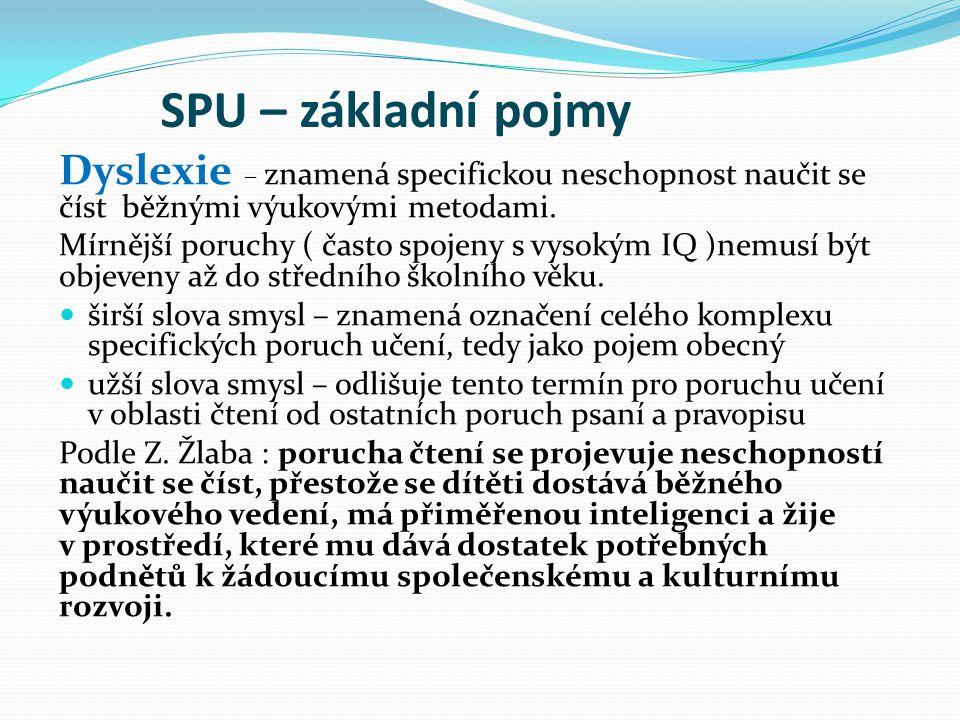 SPU – základní pojmy Dyslexie – znamená specifickou neschopnost naučit se číst běžnými výukovými metodami.