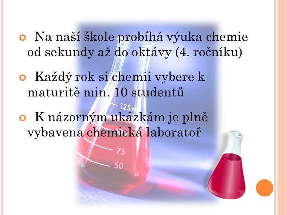 Na naší škole probíhá výuka chemie od sekundy až do oktávy (4. ročníku)