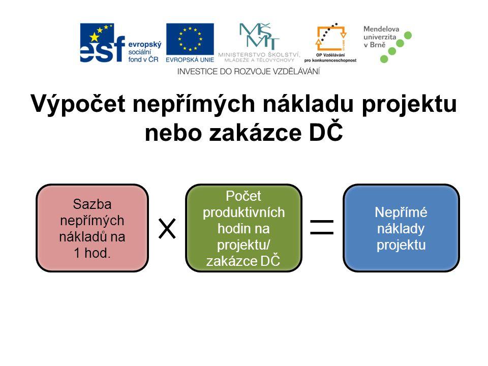 Výpočet nepřímých nákladu projektu nebo zakázce DČ