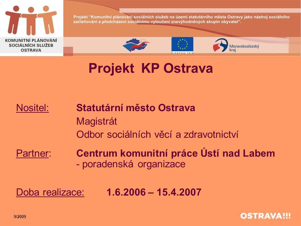 Projekt KP Ostrava Nositel: Statutární město Ostrava Magistrát