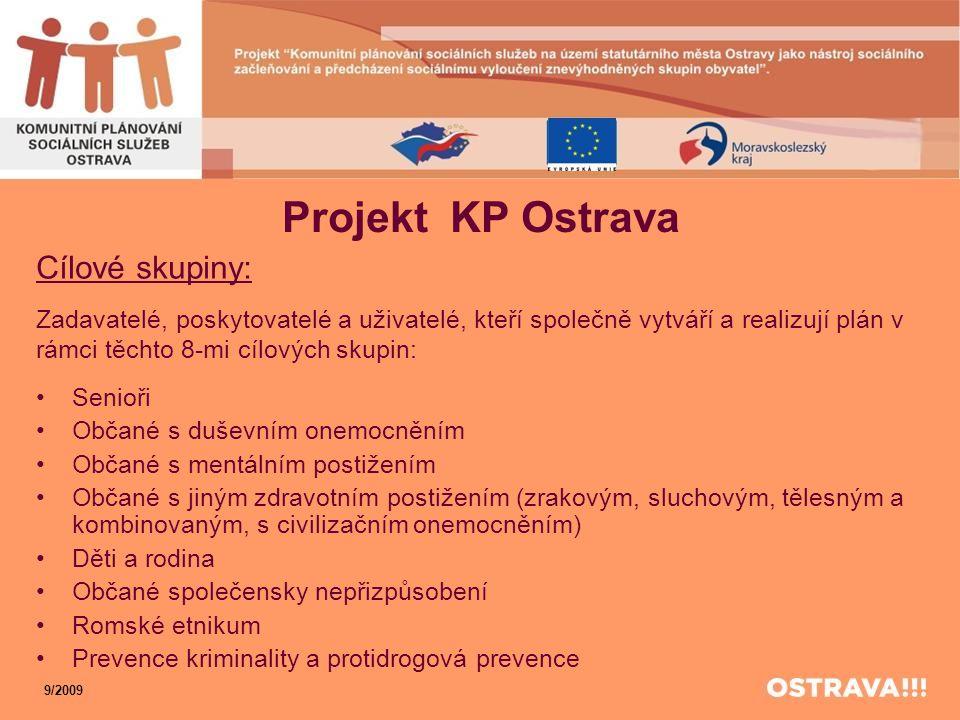 Projekt KP Ostrava Cílové skupiny: