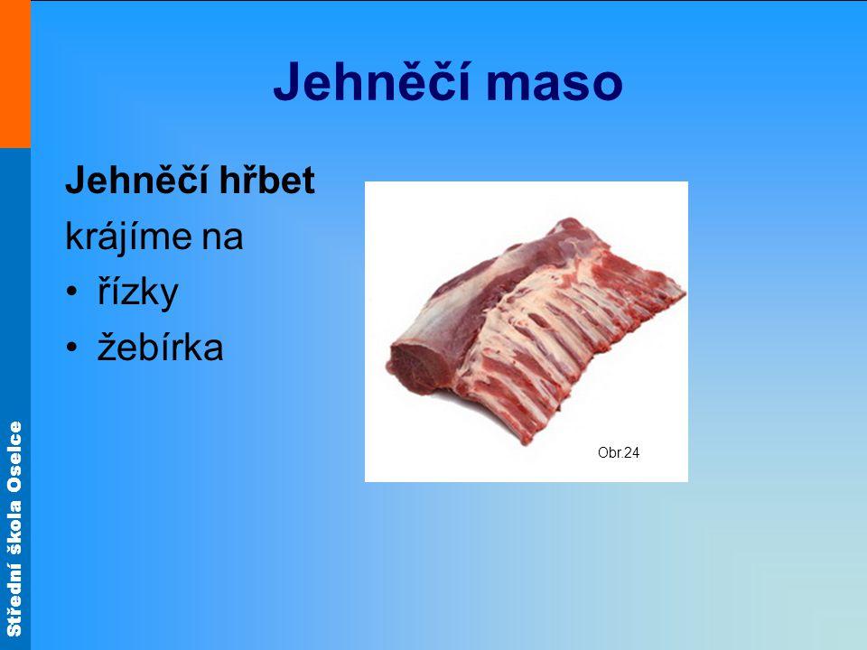 Jehněčí maso Jehněčí hřbet krájíme na řízky žebírka Obr.24