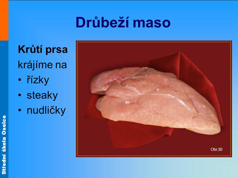 Drůbeží maso Krůtí prsa krájíme na řízky steaky nudličky Obr.30