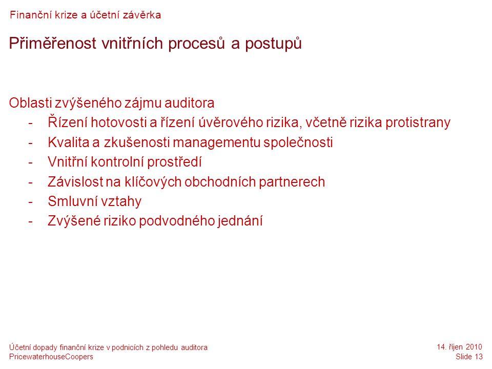Přiměřenost vnitřních procesů a postupů
